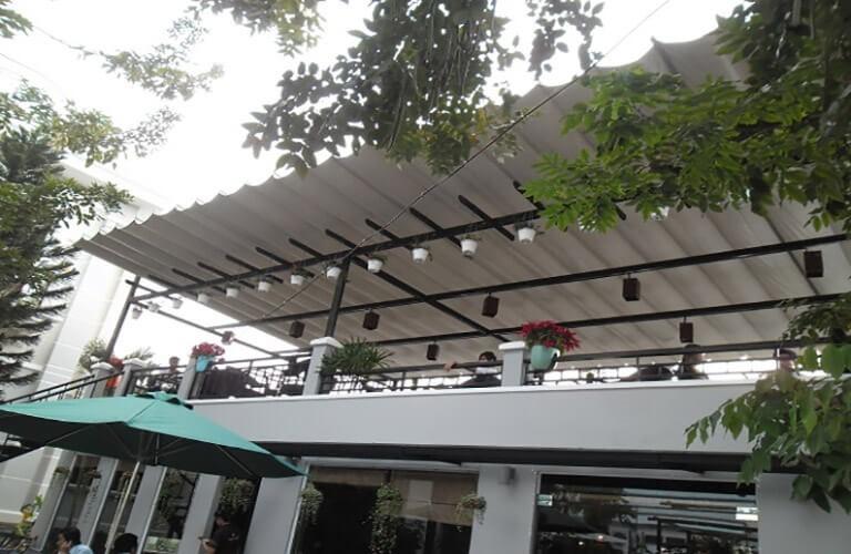 Mái che sân thượng bằng bạt kéo
